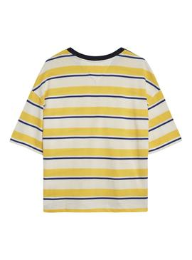 Camiseta Tommy Jeans Multistripe Amarillo Mujer