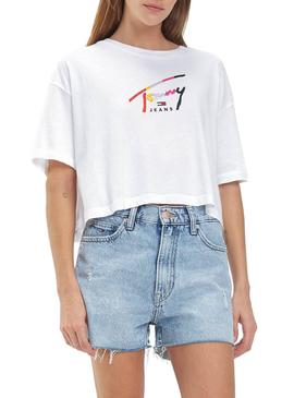 Camiseta Tommy Jeans Cropped Blanco Para Mujer