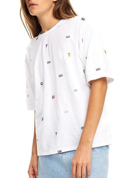 Camiseta Tommy Jeans AOP Embroidered Blanco Mujer