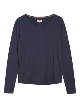 Camiseta Tommy Jeans Long Sleeve Azul Mujer