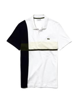 Polo Lacoste Color Block Blanco Hombre