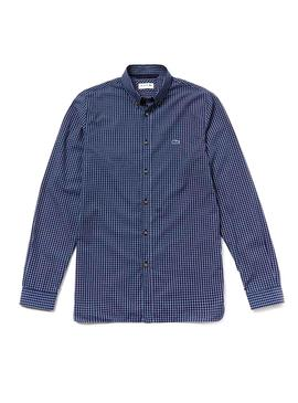 Camisa Lacoste Check Slim Fit Marino Hombre
