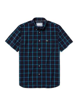 Camisa Lacoste Wide Check Short Marino Hombre