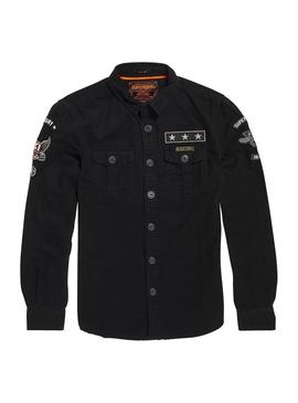 Camisa Superdry Hombre Military Storm Negro