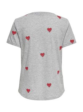 Camiseta Only Bone Love Gris Mujer