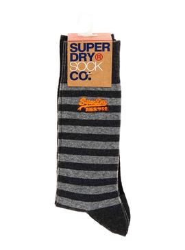 Pack Calcetines Superdry City Stripe Gris Hombre