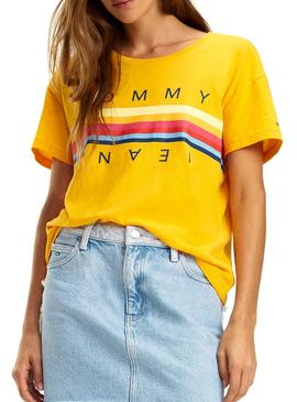 Camiseta Tommy Jeans Multicolor Line Logo Mostaza