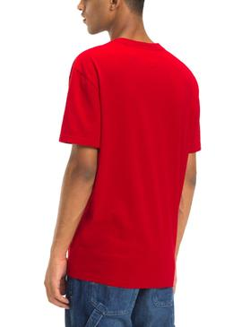 Camiseta Tommy Jeans Essential Split Rojo Hombre