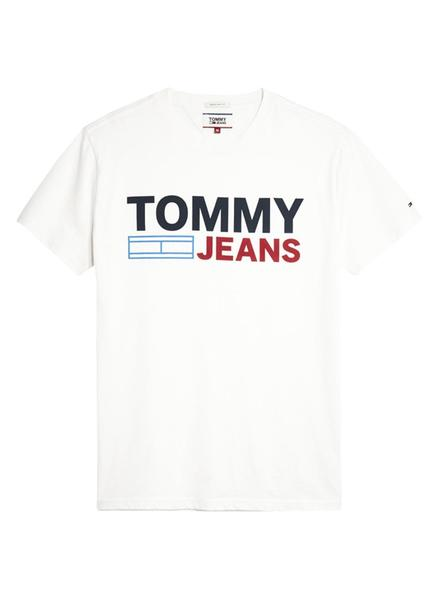 Camiseta Tommy Jeans Essential Logo Blanco Hombre