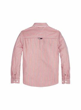 Camisa Tommy Hilfiger Essential Stripe Rojo Mujer