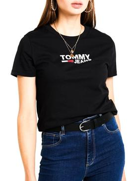 Camiseta Tommy Jeans Corp Logo Negro Mujer