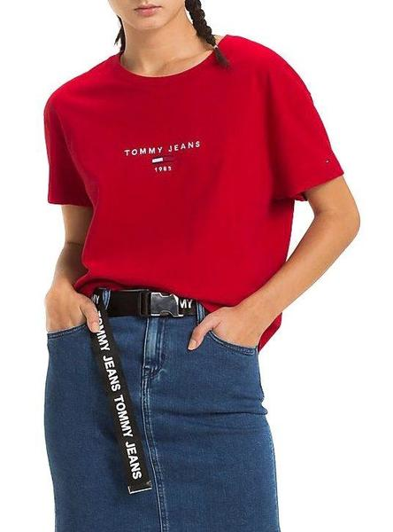 Camiseta Tommy Jeans Corp Logo Rojo Mujer