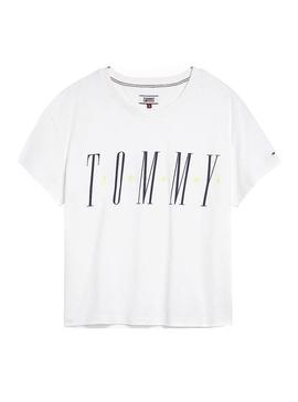 Camiseta Tommy Jeans Layer Graphics Blanco Mujer