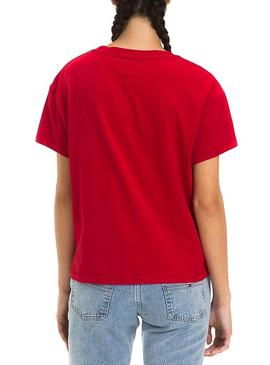 Camiseta Tommy Jeans Layer Graphics Rojo Mujer