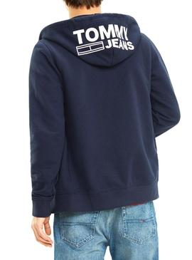Sudadera Tommy Jeans Graphic Zip Azul Hombre