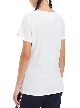 Camiseta Tommy Jeans Flag Detail Blanco Mujer