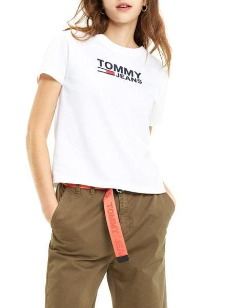 Camiseta Tommy Jeans Corp Logo Blanco Mujer