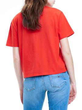 Camiseta Tommy Jeans Embroidery Rojo Mujer