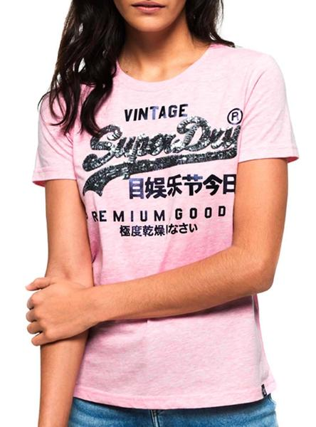 Camiseta Superdry Goods Sequin Rosa Mujer