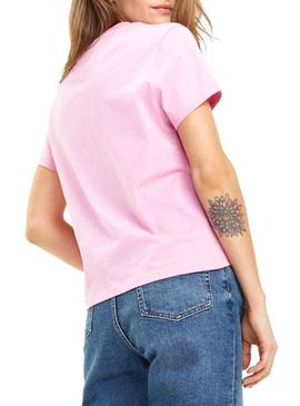 Camiseta Tommy Jeans Corp Logo Rosa Mujer