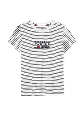 Camiseta Tommy Jeans Stripe Chest Blanco Mujer
