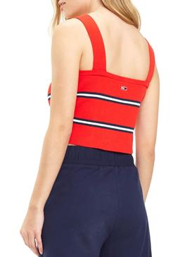 Top Tommy Jeans Knitted Stripe Rojo Mujer