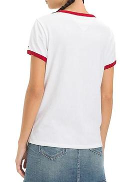Camiseta Tommy Jeans Signature Ringer Blanco Mujer