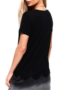 Camiseta Superdry Morocco Lace Negro Mujer