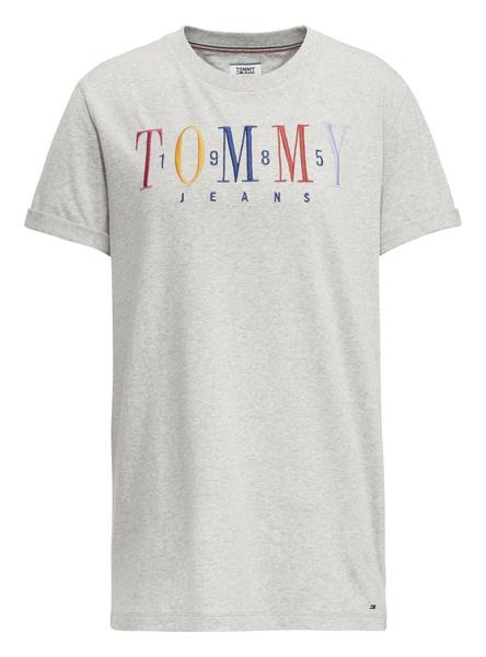Camiseta Tommy Jeans Embroidery Logo Gris Mujer