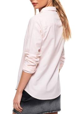 Camisa Superdry Oxford Stripe Rosa Mujer