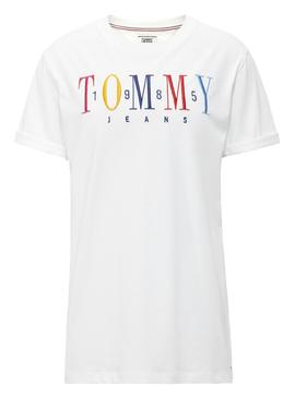 Camiseta Tommy Jeans Embroidery Logo Blanco Mujer
