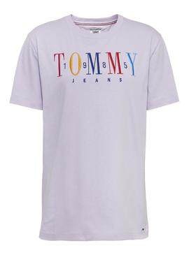 Camiseta Tommy Jeans Embroidery Logo Lila Mujer