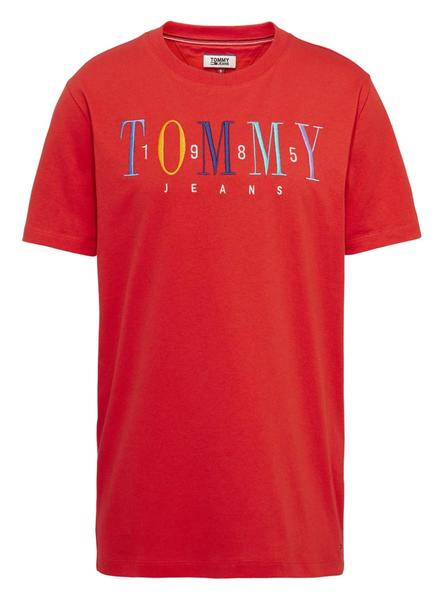 Camiseta Tommy Jeans Embroidery Logo Rojo Mujer