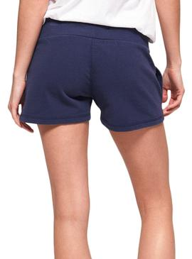 Short Superdry Track and Field Azul Mujer