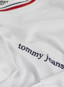 Camiseta Tommy Jeans Tie Contrast Blanco Mujer