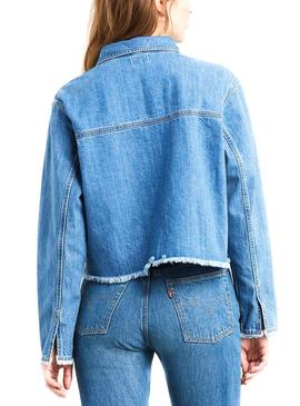 Camisa Levis Rania Cropped Azul Mujer