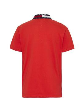 Polo Tommy Jeans Flag Neck Rojo Hombre