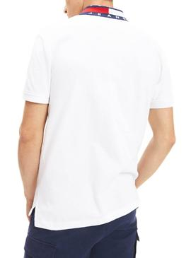 Polo Tommy Jeans Flag Neck Blanco Hombre