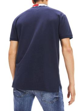Polo Tommy Jeans Flag Neck Marino Hombre