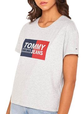 Camiseta Tommy Jeans Box Logo Gris Mujer