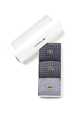 Pack Calcetines Lacoste Cuadros Gris Para Hombre
