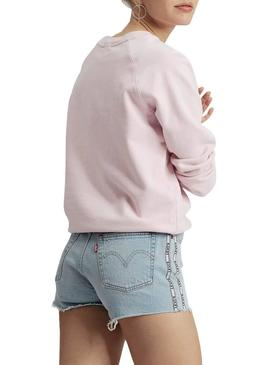 Sudadera Levis Relaxed Graphic Batwing Rosa Mujer