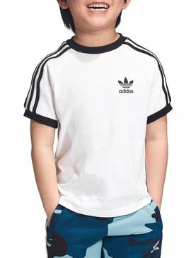 Camiseta Adidas 3 Stripes Blanco Niño