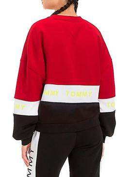 Sudadera Tommy Jeans Colorblock Rojo Mujer