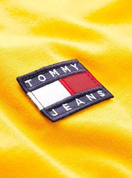 Camiseta Tommy Jeans Badge Amarillo Para Mujer