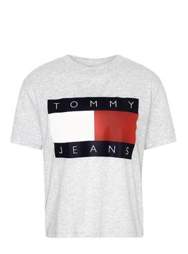 Camiseta Tommy Jeans Flag Gris Para Mujer