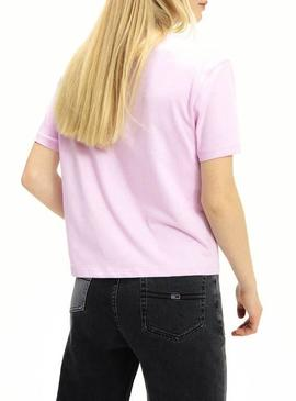Camiseta Tommy Jeans Flag Rosa Para Mujer