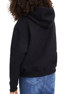 Sudadera Tommy Jeans Badge Hoodie Negro De Mujer