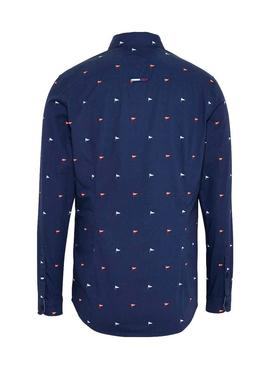 Camisa Tommy Jeans Disty Print Marino Hombre