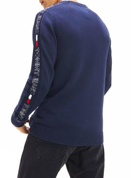 Jersey Tommy Jeans Tape Azul Para Hombre